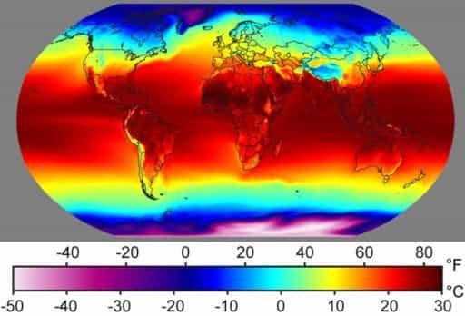 карта темпратур нашей планеты в будущем