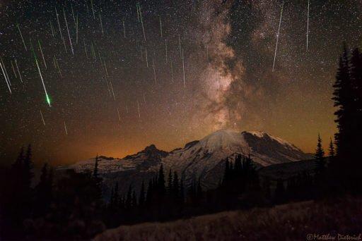 Млечный Путь и падающие метеориты