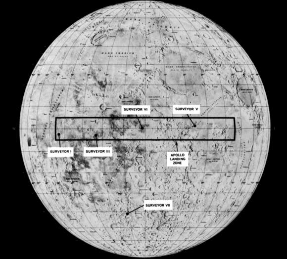 возможные места посадки Аполлон-11