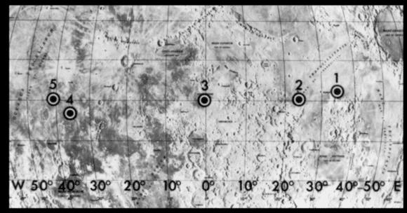 места посадки Аполлонов