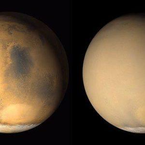 Пыльная буря окутала холодную планету Марс