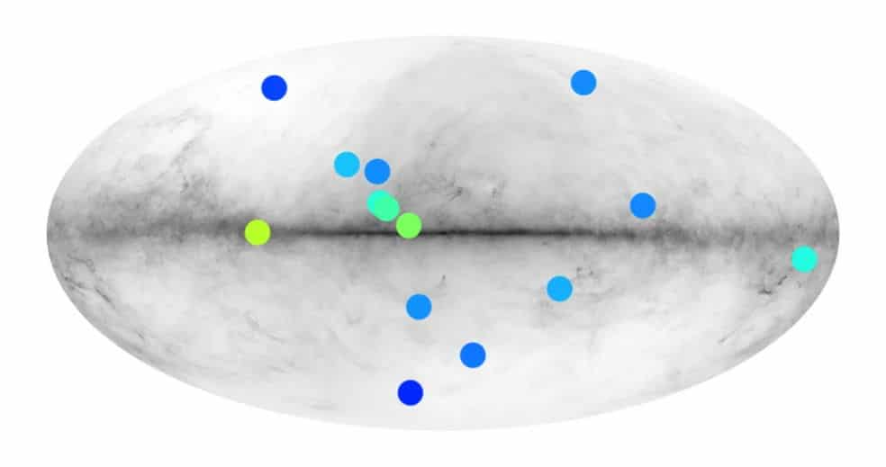 антизвезды на карте Млечного пути