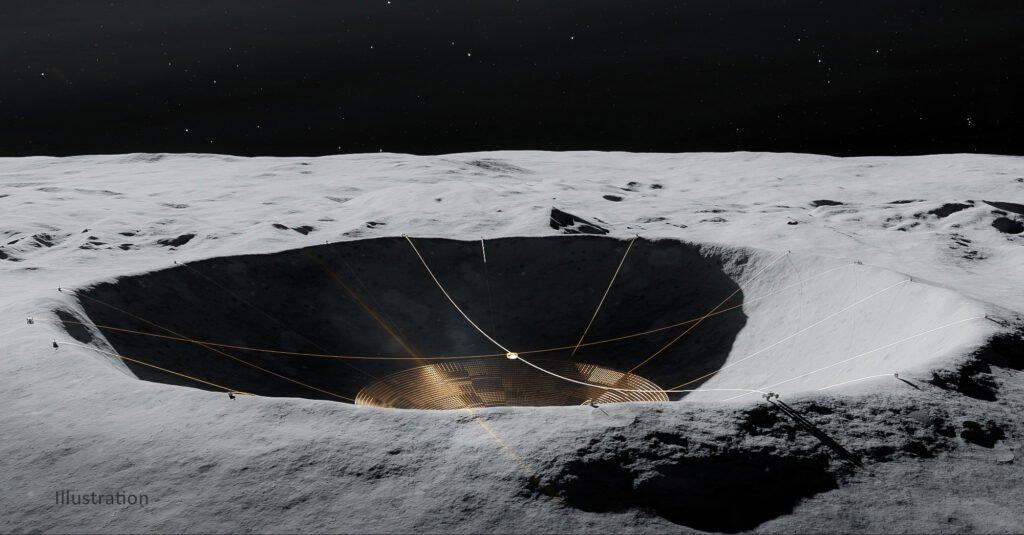 лунный радиотелескоп в кратере